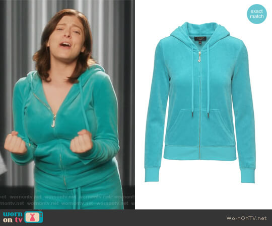 J Bling Velour Robertson Jacket by Juicy Couture worn by Rebecca Bunch (Rachel Bloom) on Crazy Ex-Girlfriend
