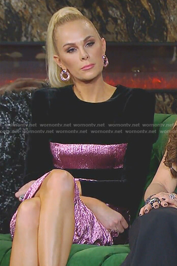 Kameron's black and metallic pink dress on The Real Housewives of Dallas