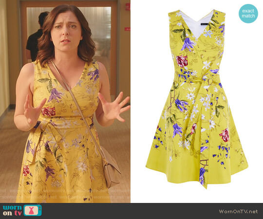 Floral A-Line Dress by Karen Millen worn by Rebecca Bunch (Rachel Bloom) on Crazy Ex-Girlfriend