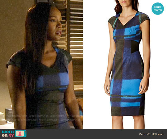 Karen Millen Watercolor Check Dress worn by Aja Naomi King on HTGAWM
