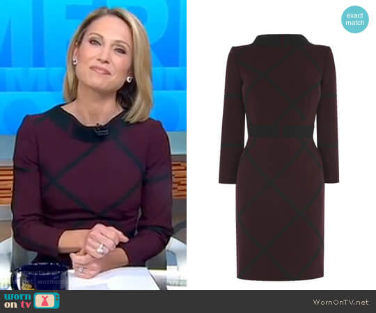 Check Shift Dress by Karen Millen worn by Amy Robach  on Good Morning America