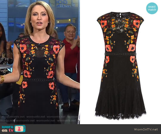 Embroidered Lace Peplum Dress by Karen Millen worn by Amy Robach  on Good Morning America
