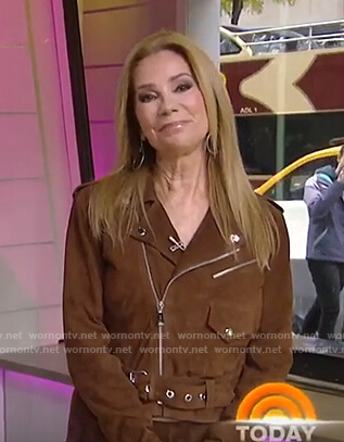 Kathie's brown suede moto jacket on Today