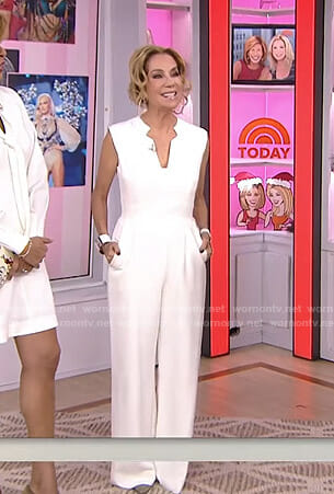 Kathie's white v-neck jumpsuit on Today