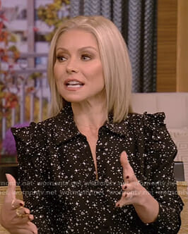 Kelly's black diamond print blouse and pencil skirt on Live with Kelly and Ryan