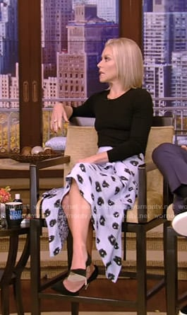 Kelly's blue floral asymmetric skirt on Live with Kelly and Ryan