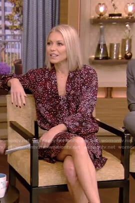 Kelly's purple dotted tie neck dress on Live with Kelly and Ryan