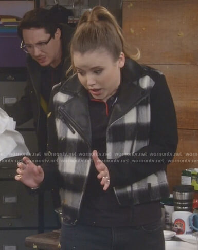 Kendra's black and white buffalo moto jacket on Kevin Can Wait