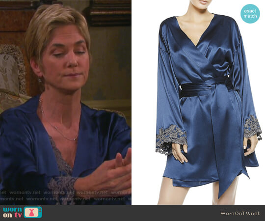 Maison Blue Silk Satin Short Robe by La Perla worn by Eve Donovan (Kassie DePaiva) on Days of our Lives