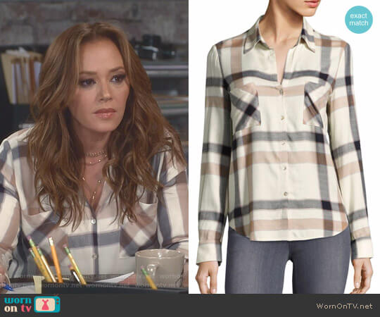 Plaid Long-Sleeve Button-Down Shirt by L'Agence worn by Vanessa Cellucci (Leah Remini) on Kevin Can Wait