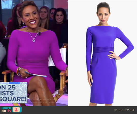Trapunto Waist Sheath Dress by Chiara Boni La Petite Robe worn by Robin Roberts on Good Morning America