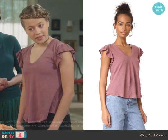 Short Sleeve Washed Textured Jersey Top by La Vie Rebecca Taylor worn by Holly Barrett on Life in Pieces