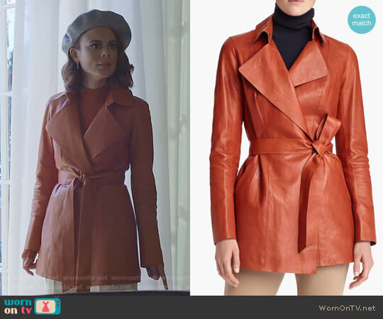 Leather Trench by Lafayette 148 New York worn by Nathalie Kelley on Dynasty