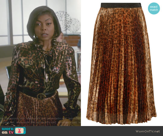 Pleated leopard-print silk-blend lame midi skirt by Christopher Kane worn by Taraji P. Henson on Empire