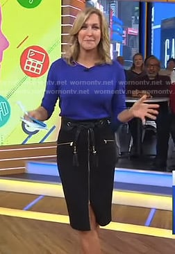 Lara's black zip front pencil skirt on Good Morning America