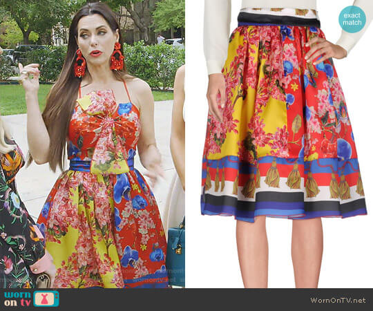 Floral Knee Length Skirt by Leitmotiv worn by D'Andra Simmons  on The Real Housewives of Dallas
