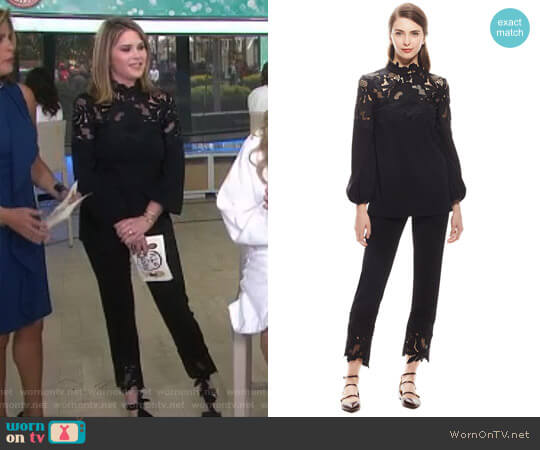 'Guipure' Top and Pants by Lela Rose worn by Jenna Bush Hager  on Today