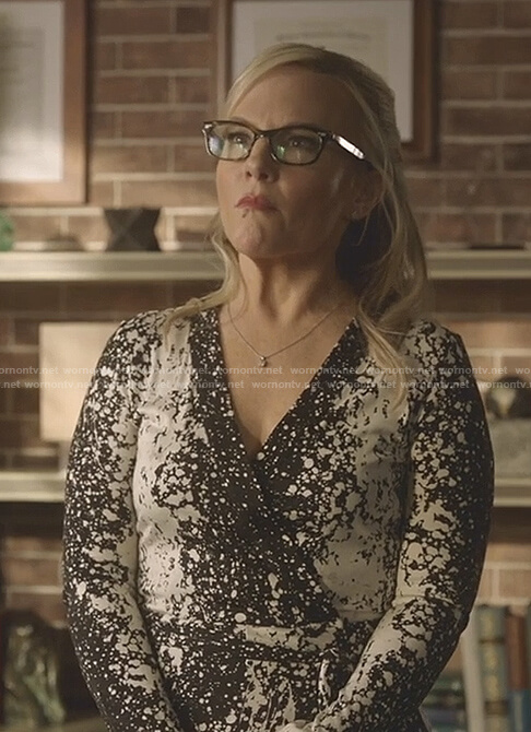 Linda's black and white paint splash wrap dress on Lucifer
