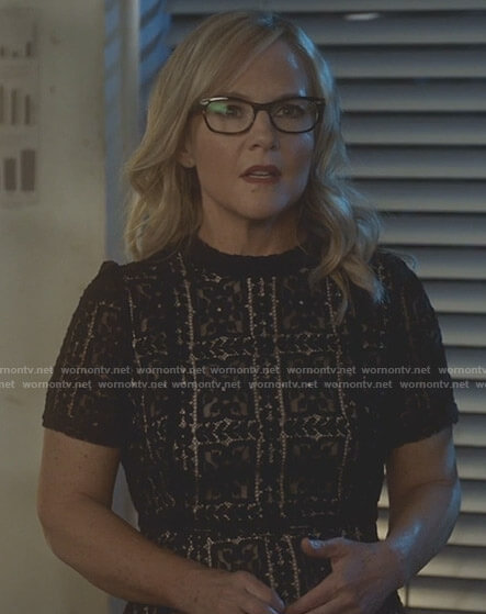 Linda's black floral lace dress on Lucifer