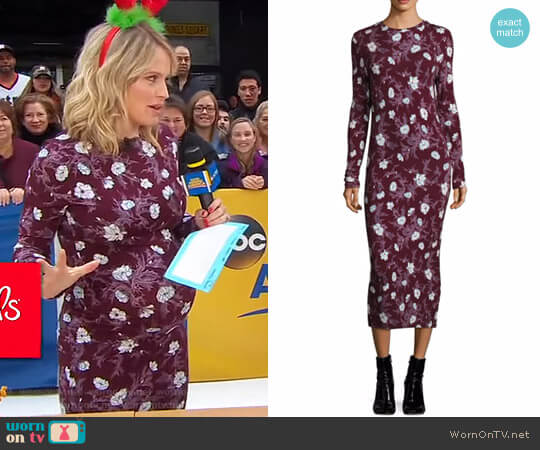 Long Jersey Floral Dress by Carven worn by Sara Haines on Good Morning America