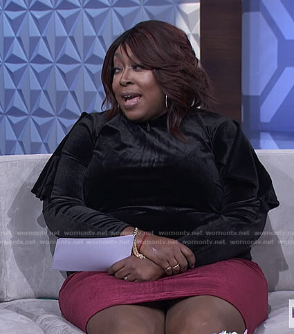 Loni's black velvet ruffled sleeve top and red skirt on The Real