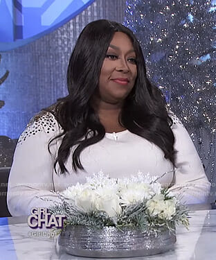 Loni's white sequined shoulder top and metallic skirt on The Real