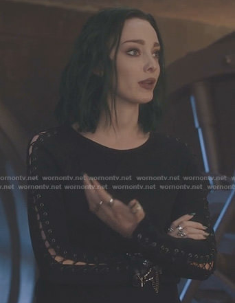 Lorna's black lace-up sleeve top on The Gifted