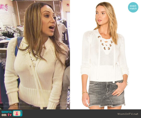 Lace Up Yaht Sweater by Lovers + Friends worn by Melissa Gorga (Melissa Gorga) on The Real Housewives of New Jersey