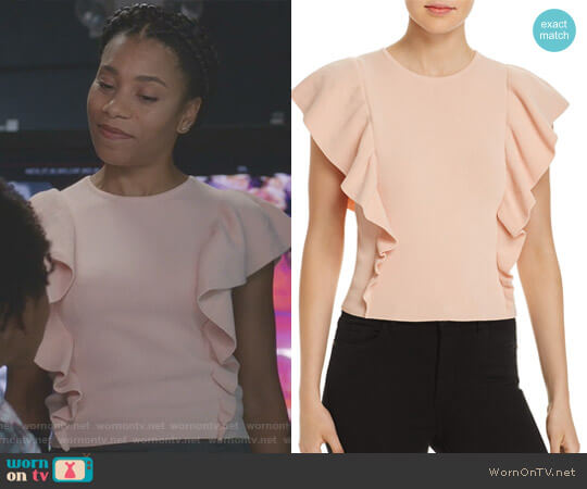 Ruffled Rib-Knit Sweater by Lucy Paris worn by Kelly McCreary on Greys Anatomy