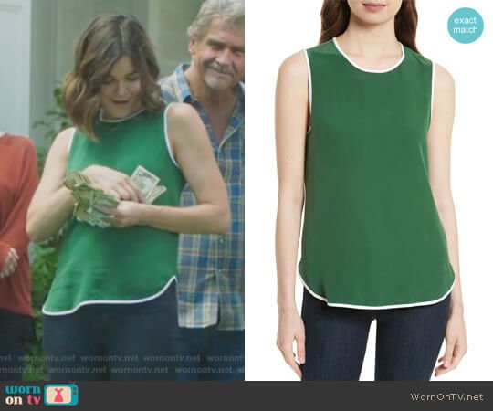 Lyle Silk Tank by Equipment worn by Betsy Brandt on Life in Pieces