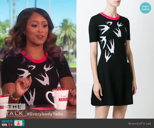 Swallow Intarsia Skater Dress by Alexander McQueen worn by Eve on The Talk