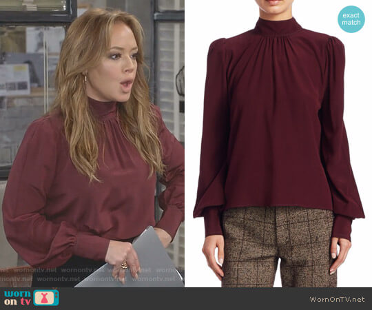 Bishop Sleeve Silk Crêpe de Chine Blouse by Marc Jacobs worn by Vanessa Cellucci (Leah Remini) on Kevin Can Wait