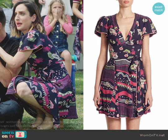 Floral-Print Tie Dress by Marc Jacobs worn by Zoe Lister-Jones on Life in Pieces