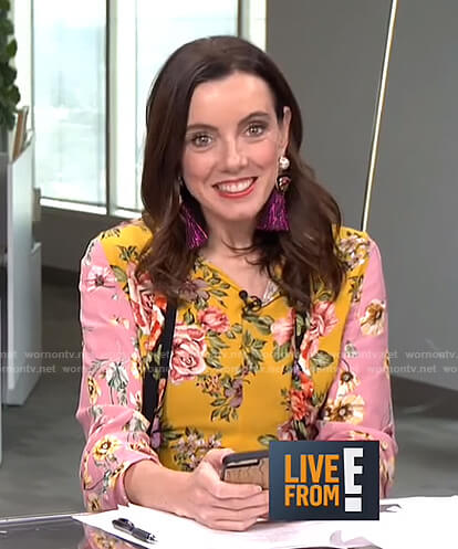 Melanie's pink and yellow floral tie dress on Live from E!
