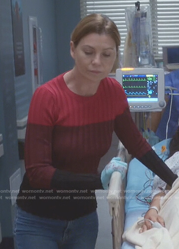 Meredith's red and black colorblock sweater on Grey's Anatomy