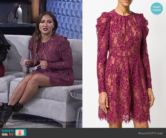 Scalloped Floral Lace Dress by MICHAEL Michael Kors worn by Adrienne Houghton on The Real