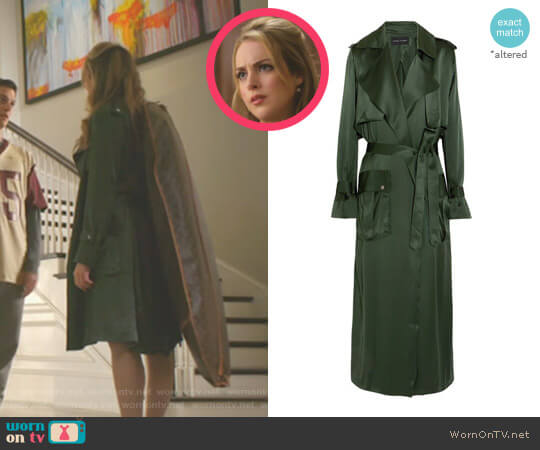 Silk-satin Trench Coat by Michael Lo Sordo worn by Fallon Carrington (Elizabeth Gillies) on Dynasty