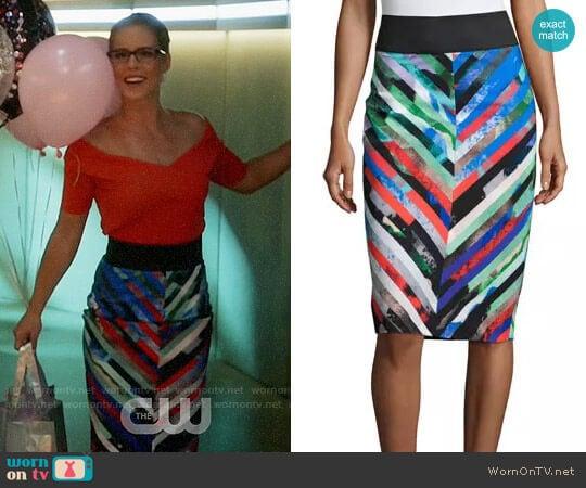 Milly Mirage Stripe Midi Skirt worn by Felicity Smoak (Emily Bett Rickards) on The Flash