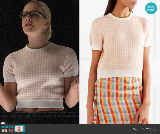 Miu Miu Checked Top worn by Felicity Smoak (Emily Bett Rickards) on Arrow