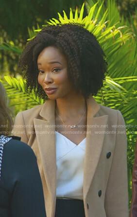 Monica's beige coat on Dynasty
