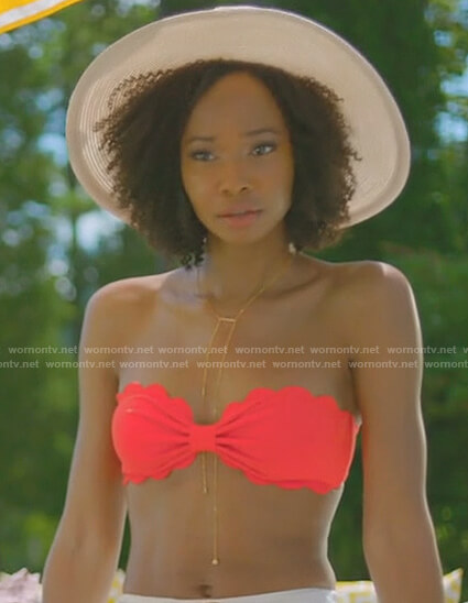 Monica's red scalloped bikini top on Dynasty