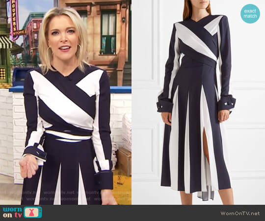 Wrap-effect striped stretch-silk midi dress by Monse worn by Megyn Kelly  on Today