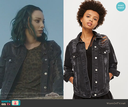 Moto Extreme Ripped Denim Jacket by Topshop worn by Lorna Dane (Emma Dumont) on The Gifted