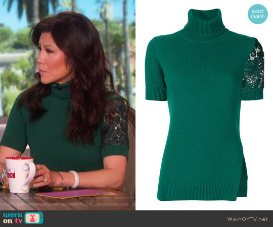 Lace Insert Turtleneck Blouse by Nº21 worn by Julie Chen  on The Talk