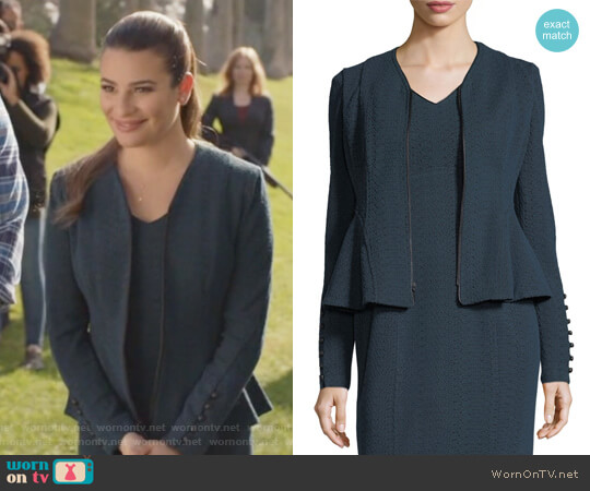 Ava Zip-Front Textured Knit Jacket by Nanette Lepore worn by Valentina Barella (Lea Michele) on The Mayor