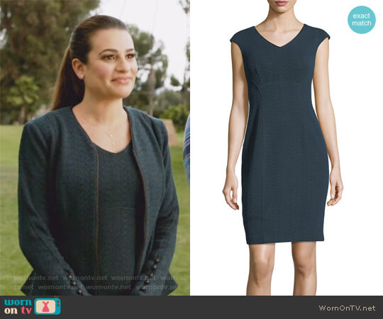 Sophia V-Neck Cap-Sleeve Textured Sheath Dress by Nanette Lepore worn by Valentina Barella (Lea Michele) on The Mayor