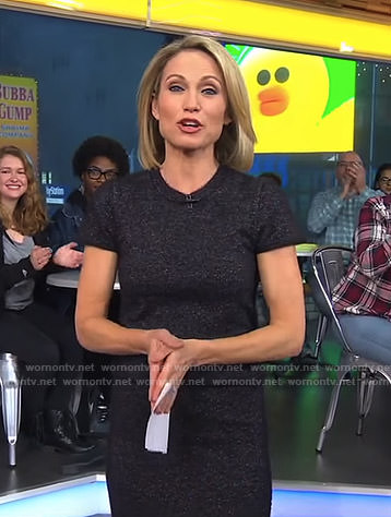 Amy's navy knitted top and pencil skirt on Good Morning America