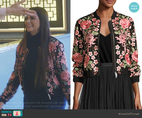 Rose Embroidered Bomber Jacket by Needle & Thread worn by D'Andra Simmons on The Real Housewives of Dallas