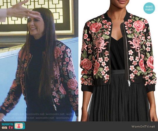 Rose Embroidered Bomber Jacket by Needle & Thread worn by D'Andra Simmons (D'Andra Simmons) on The Real Housewives of Dallas