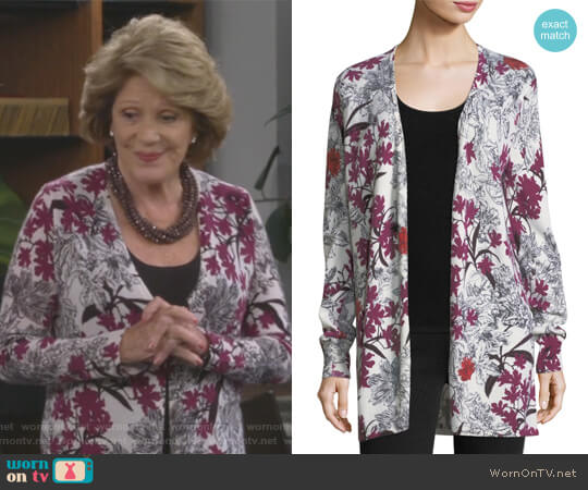 Cashmere Floral-Print Open-Front Cardigan by Neiman Marcus Cashmere Collection worn by Linda Lavin on 9JKL